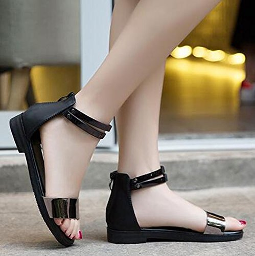 Easemax Womens Casual Open Toe Low Chunky Sandals With Zipper Black MYcdtRg1S