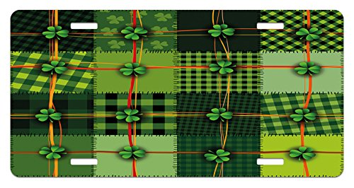 Ambesonne Irish License Plate, Patchwork Style St. Patrick's Day Themed Celtic Quilt Cultural Checkered with Clovers, High Gloss Aluminum Novelty Plate, 5.88 L X 11.88 W Inches, Multicolor (Quilt Day)