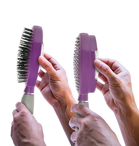 Self Cleaning Hair Brush - Easy Clean Detangle Brush or Comb - Retractable Brush Detangler for Wet or Dry Hair - Adults & Kids - by Qwik Clean - (Purple)