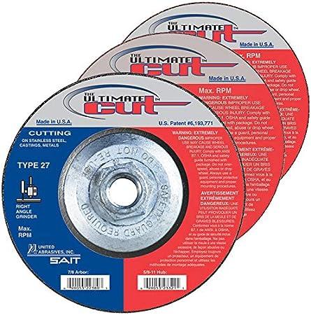 """10 Pack  4-1//2/"""" x 1//4/"""" x 5//8/""""-11 Hubbed Metal Grinding Wheels Type 27 Hub Discs"""