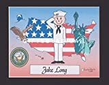 US Navy Military Gift Personalized Custom Cartoon Print 8x10, 9x12 Magnet or Keychain