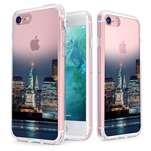 (True Color Case Compatible with iPhone 7 Case/iPhone 8 Case Clear-Shield Statue of Liberty Printed on Clear Back - Perfect Soft and Hard Thin Shock Absorbing Dustproof Full Protection Bumper)