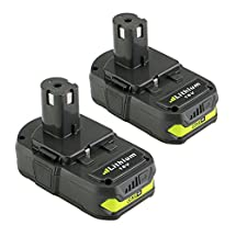 efluky 2pcs 1.5Ah Replacement P103 ONE+ 18-Volt Lithium Battery for Ryobi P104 P105 P102 P103 P107 P108