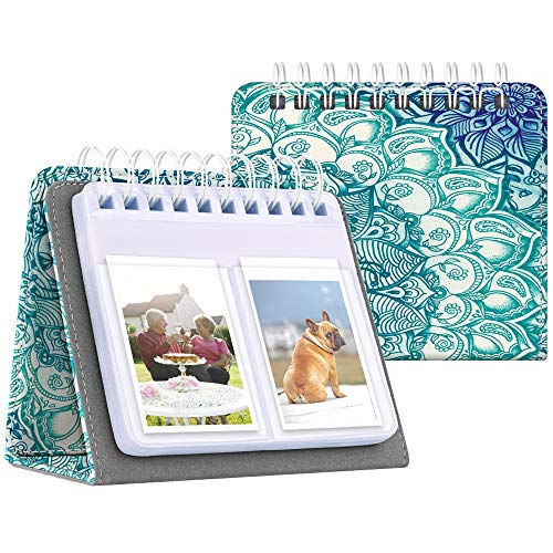 Fintie Calendar Photo Album for Fujifilm Instax, 64 Pockets Vegan Leather Photo Album for Fujifilm Mini 9 Mini 8+ Mini 90 Mini LiPlay, HP Sprocket, Kodak Mini, Polaroid Camera 3-Inch,Emerald - Album Stand Mini