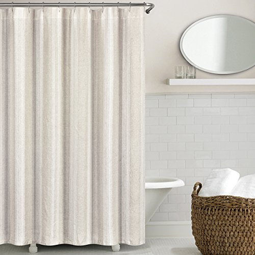 Echelon Home Lst SC Nat Vintage Stripe Washed Belgian Linen Shower Curtain, Natural - Echelon Shower