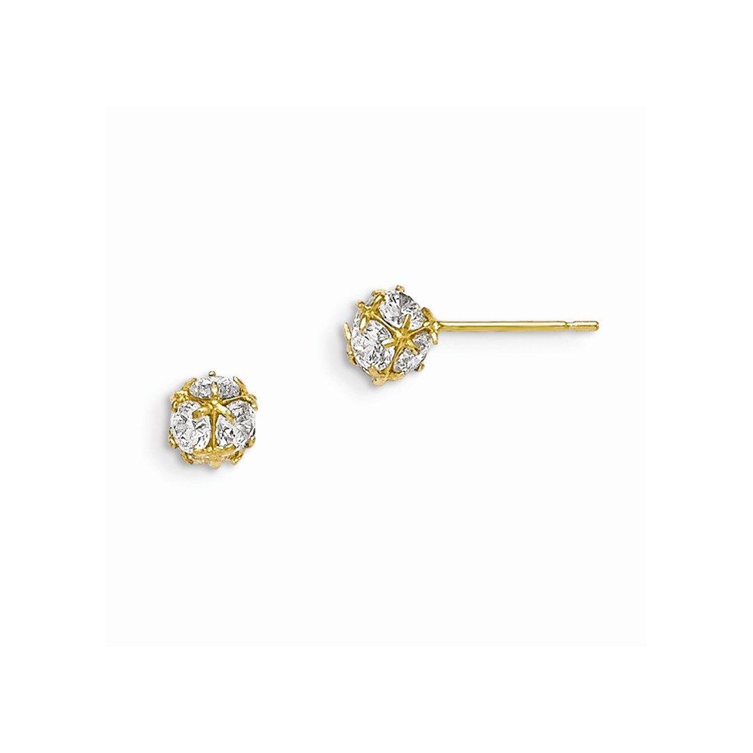 f68cf80bb Amazon.com: 14k Yellow Gold Cubic Zirconia Cz Childrens Ball Post Stud Button  Earrings Fine Jewelry Gifts For Women For Her: ICE CARATS: Jewelry
