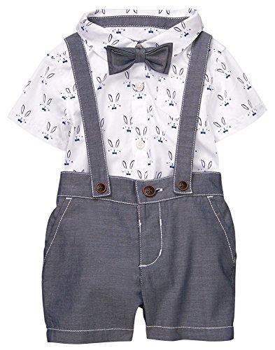 - Gymboree Baby Boy Dressy Suspender Bodysuit Set Bunny Grey 6-12 Mo