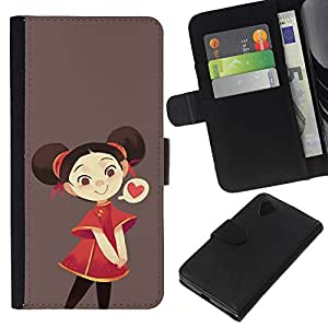 iBinBang / Flip Funda de Cuero Case Cover - Red Brown Amor Kids Dibujo de Brown - LG Nexus 5 D820 D821