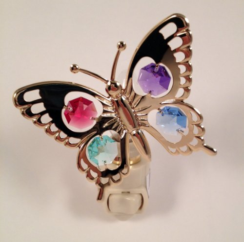 (Butterfly Night Light..... with Mixed Color Swarovski Austrian Crystals)