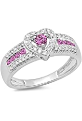 10K White Gold Round Pink Sapphire & White Diamond Ladies Bridal Heart Shaped Promise Engagement Ring