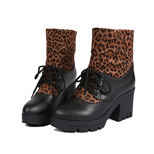 Women's High-Heels Assorted Color Round Closed Toe Soft Material Lace-Up Boots