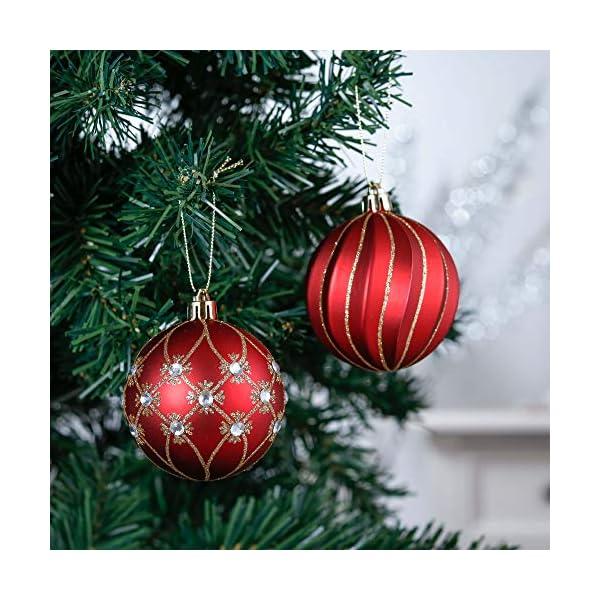 Valery Madelyn Palle di Natale 24 Pezzi 7cm Palline di Natale, Ornamenti di Palla di Natale Infrangibili di Lusso Rosso e Oro per la Decorazione Dell'Albero di Natale 4 spesavip