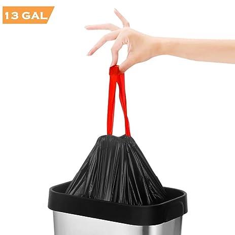 Trash Bags 13 Gallon, Black Tall Drawstring Garbage Bags For Kitchen Trash  Can, Garden
