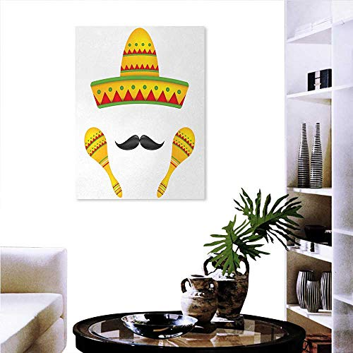 Mexican Ready to Hang Home Decorations Wall Decor Famous Centerpiece Icons Mexico Sombrero Moustache Rumba Shaker Mesoamerican Print Art Stickers 24
