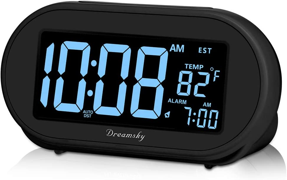 DreamSky Auto Time Set Alarm Clock with Snooze & Full Range 0-100% Dimmer, USB Charging Station/Phone Charger, Auto DST, 4 Time Zones Clocks for Bedrom