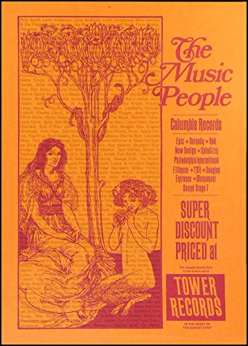 1971 Tower Records Sunset Telephone Pole Poster Columbia The Music People (Telephone Sunset)