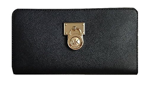 Michael Kors Hamilton Traveler Large Zip Around Clutch Leather Wallet - Gold Michael Kors Black And
