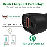 iVoler 36W 2 Ports Car Charger [QC 3.0 Port + Type C Port with QC 3.0 Tech] for Google Pixel / Google Pixel XL ,Galaxy S7/S7 Edge,Nexus 6P/5X,and More -Dual Turbo Rapid Ports Both Support QC 3.0