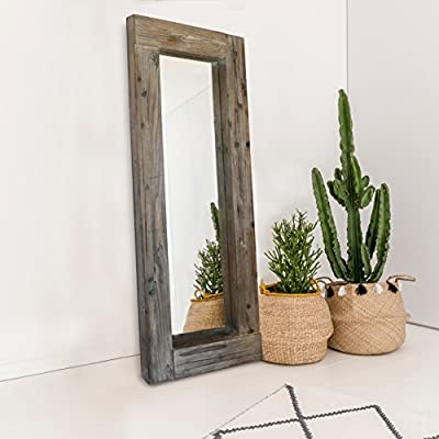 "Barnyard Designs Long Decorative Wall Mirror, Rustic Distressed Unfinished Wood Frame, Vertical and Horizontal Hanging Mirror Wall Decor 58"" x 24"" - FULL LENGTH FLOOR OR HANGING WALL MIRROR - The generous size of this long, full length wood framed mirror makes it functional as well as decorative. Perfect to lean against the wall as a body mirror or mounted on the wall. This mirror comes with pre-installed wall mounting hooks. DECORATIVE ACCENT MIRROR - A large statement piece that will open up a room and create the illusion of space, this rustic barn wood leaning or wall mirror will add timeless appeal and style to your home. Perfect addition to an entryway, living room or bedroom. UNFINISHED WOOD DESIGN - Lend a vintage-inspired look to your home decor with this big standing farmhouse mirror. A rectangular unfinished natural-looking wood frame complements the rustic theme - mirrors-bedroom-decor, bedroom-decor, bedroom - 51sI0hiQG L. SS400  -"