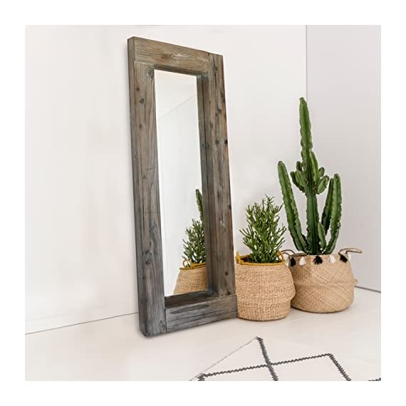 Barnyard Designs Long Decorative Wall Mirror, Rustic Distressed Unfinished Wood Frame, Vertical and Horizontal Hanging… - FULL LENGTH FLOOR OR HANGING WALL MIRROR - The generous size of this long, full length wood framed mirror makes it functional as well as decorative. Perfect to lean against the wall as a body mirror or mounted on the wall. This mirror comes with pre-installed wall mounting hooks. DECORATIVE ACCENT MIRROR - A large statement piece that will open up a room and create the illusion of space, this rustic barn wood leaning or wall mirror will add timeless appeal and style to your home. Perfect addition to an entryway, living room or bedroom. UNFINISHED WOOD DESIGN - Lend a vintage-inspired look to your home decor with this big standing farmhouse mirror. A rectangular unfinished natural-looking wood frame complements the rustic theme - mirrors-bedroom-decor, bedroom-decor, bedroom - 51sI0hiQG L. SS570  -