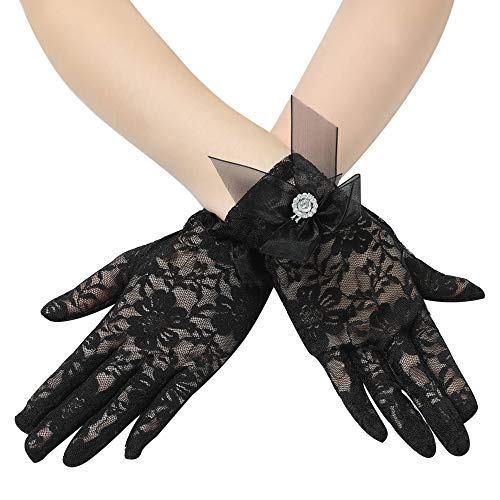 BABEYOND Floral Lace Gloves for Wedding Opera Party