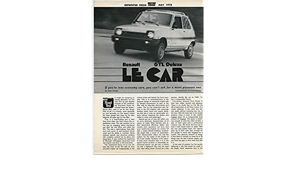 Amazon.com: 1978 Renault 5 Le Car GTL Deluxe Roadtest Brochure: Entertainment Collectibles