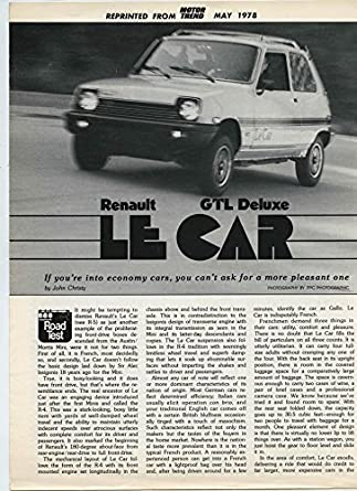 Amazon.com: 1978 Renault 5 Le Car GTL Deluxe Roadtest Brochure: Entertainment Collectibles
