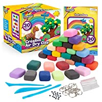 Creative Kids Air Dry Clay Modeling Crafts Kit For Children - Super Light Nontoxic - 30 Vibrant Colors & 3 Clay Tools - STEM Educational DIY Molding Set - Easy Instructions - Gift For Boys & Girls 3 +
