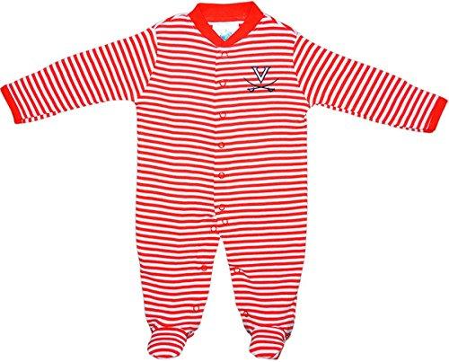 (University of Virginia Cavaliers Striped Footed Baby Romper Orange/White)