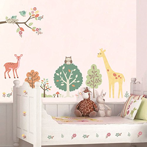 Ferris Store DIY Cute Animal Forest Wall Sticker Removable Art Vinyl Wall (Damask Traditional Prints Wallpaper)
