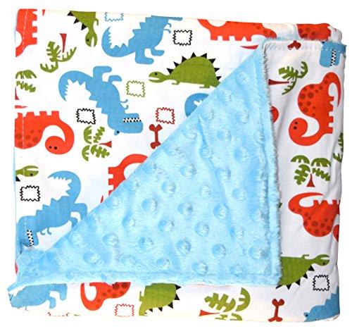 Unique Baby Soft Textured Minky Dot Blanket, Dinosaur Blue