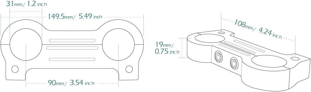 KiWAV billet aluminum chrome gauge mount adapter for Harley FXD XL T-bar 1-1//4