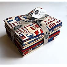 American Honor 13 Fat Quarters, Red White & Blue Cotton Blank Quilting