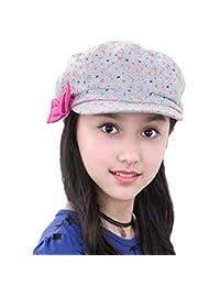 Cotton Newsboy Cap Girls Children Red Bowknot Summer Sun Hats Flat Caps