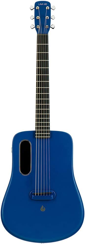 LAVA ME 2 Guitarra de fibra de carbon con efectos Guitarra Acústica Eléctrica de Viaje con bolsa Picks y Cable de carga (FreeBoost, Azul, 36 Inch)