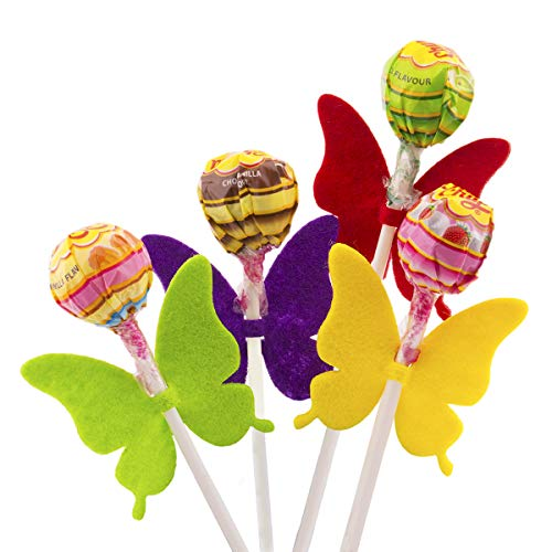 Summer-Ray 100pcs Colorful Felt Butterfly Lollipop Tag/Candy Holder for Parties
