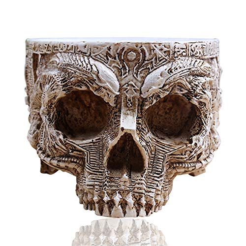 White-Antique-Sculpture-Human-Skull-Planter-Garden-Storage-Pots
