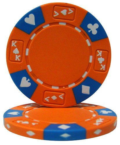 (Brybelly Holdings CPAK-ORANGE-25 Roll of 25 - Orange - Ace King Suited 14 Gram Poker Chips)