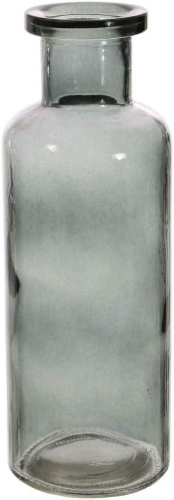 Jarrón de cristal de color de 21,5 cm de alto con forma de botella Ahumado