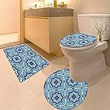 Printsonne 3 Piece Extended Bath mat Set Moroccan Portuguese Style Classic Tiles Ornaments Islamic Historical Buildings Art Blue 3 Piece Toilet Cover Set