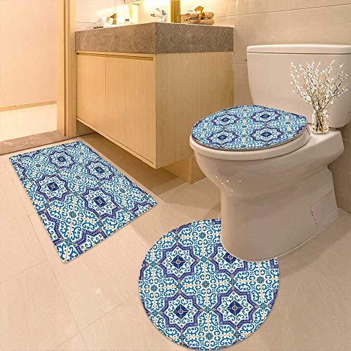 Printsonne 3 Piece Extended Bath mat Set Moroccan Portuguese Style Classic Tiles Ornaments Islamic Historical Buildings Art Blue 3 Piece Toilet Cover Set by Printsonne