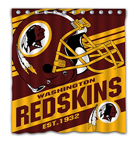 Potteroy Washington Redskins Team Stripe Design Shower Curtain Waterproof Mildew Proof Polyester Fabric 66x72 Inches