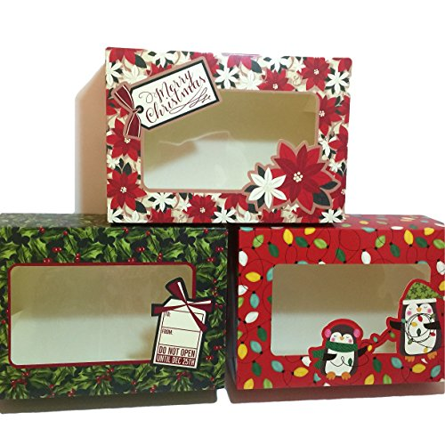 Christmas Winter Themed Baked Goods Gift Rectangle Bakery Boxes Bundle Set of 3 Packs of 2 Each (Total 6 Boxes) - Holly Leaves, Cute Penguins with Christmas Lights and Poinsettia Designs