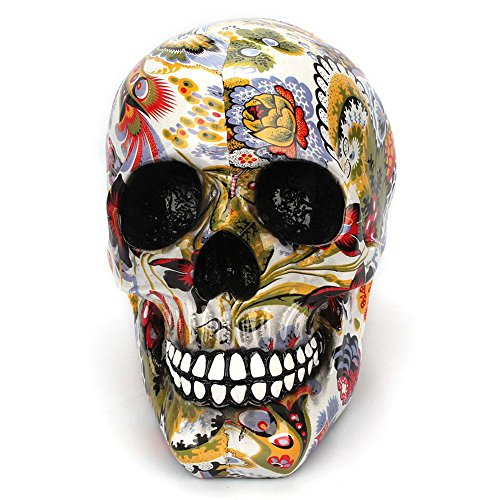 KOBWA Human Skull Head Skeleton Human Skull Model Replica Handmade Human Head Skull Figurine Lapis Crystal Statue Halloween Decor