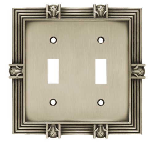 Franklin Brass 64460 Pineapple Double Toggle Switch Wall Plate / Switch Plate / Cover, Brushed Satin Pewter (Double Decorative Switchplate)