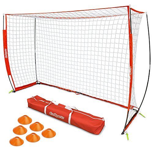 (GoSports Elite Futsal Soccer Goal | Regulation 3M x 2M Size for Indoor or Outdoor Use | Foldable Bow Frame Sets Up in Minutes | Play & Train Like The Pros)