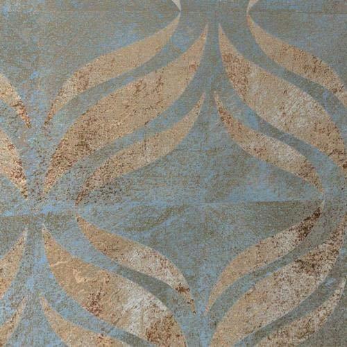FD24428 - Insignia Green Copper Fleur de LYS Plaster Effect Fine Decor Wallpaper