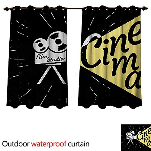 WilliamsDecor Movie Theater Outdoor Curtains for Patio Sheer Movie Projector Sketch with Grunge Cinema Lettering on Black Backdrop W120 x L72(305cm x 183cm)