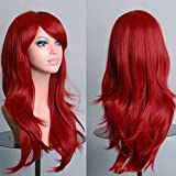 Long Anime Cosplay Full Wig with Bangs 10 Colors Heat Resistant Fiber Synthetic Wig Layered Curly Wavy 23'' / 58cm+Stretchable Elastic Wig Net for Women Girls Lady Fashion(wine red)