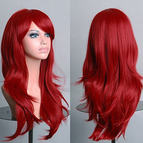 Long Anime Cosplay Full Wig with Bangs 10 Colors Heat Resistant Fiber Synthetic Wig Layered Curly Wavy 23'' / 58cm+Stretchable Elastic Wig Net for Women Girls Lady Fashion(wine (Sexy Updo)